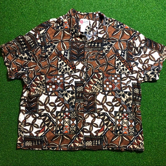 Hilo Hattie Other - Vtg Hilo Hattie Hawaiian Shirt Brown Flowers